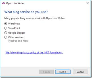 Open Live Writerでブログアカウント追加