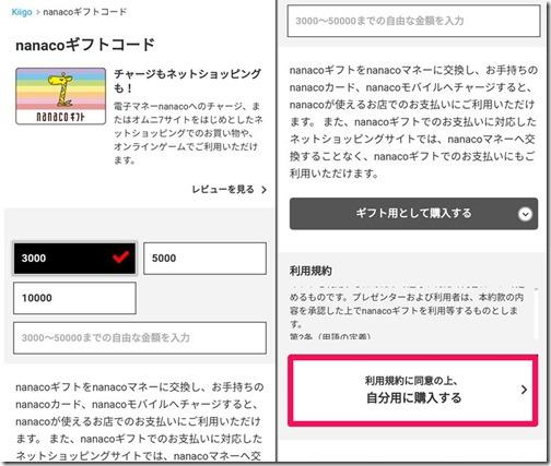 nanacoギフトコードの購入方法